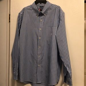 Light blue and white check buttondown shirt